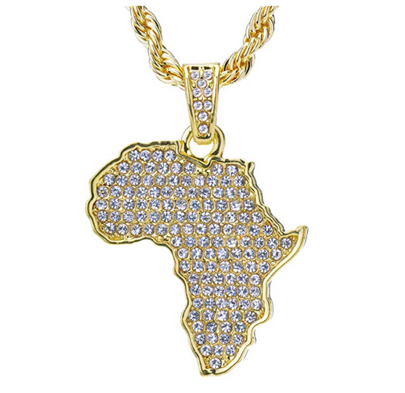 Gold Tone Africa Map Pendant Necklace Simulated Diamond African Charm Ankh Necklace Hip Hop Egyptian Jewelry 24in.
