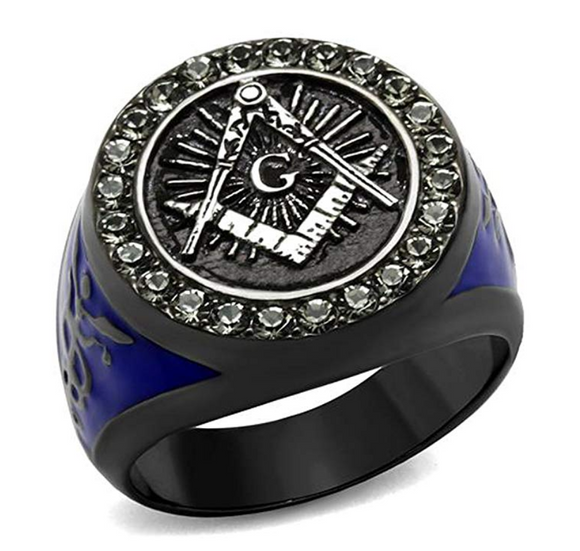Blue Freemason Ring Simulated Diamond Black Masonic Ring Masonic Jewelry Regalia