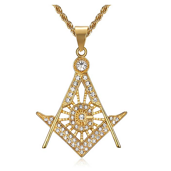 Gold Color Freemason Simulated Diamond Necklace Square & Compass Masonic Chain Pendant G Prince Hall 24in.