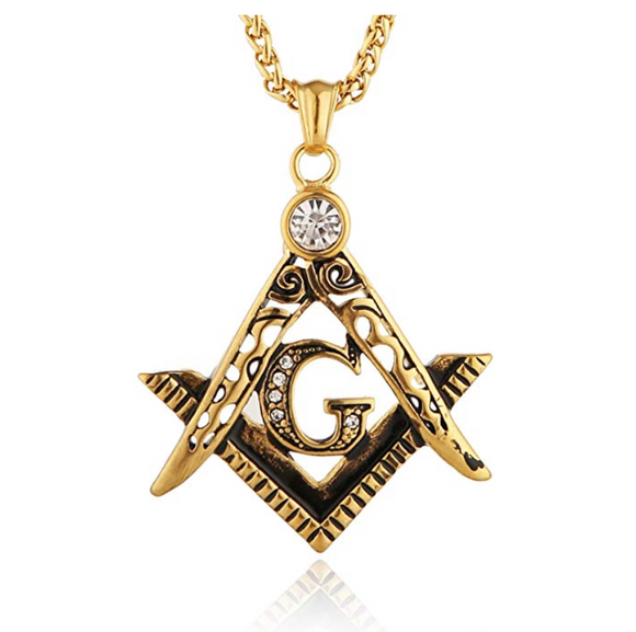 Freemason Necklace Gold Color Metal Alloy Simulated Diamond Masonic Chain Past Master Gift Square Compass G Regalia