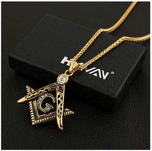Gold Freemason Necklace Diamond Masonic Chain Past Master Gift Square Compass G Regalia