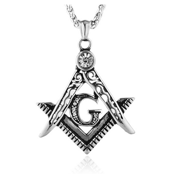 Freemason Necklace Gold Silver Simulated Diamond Masonic Chain Past Master Gift Square Compass G Regalia 24in.