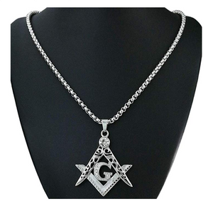 Silver Masonic Chain Freemason Necklace Diamond Past Master Gift Square Compass G Regalia