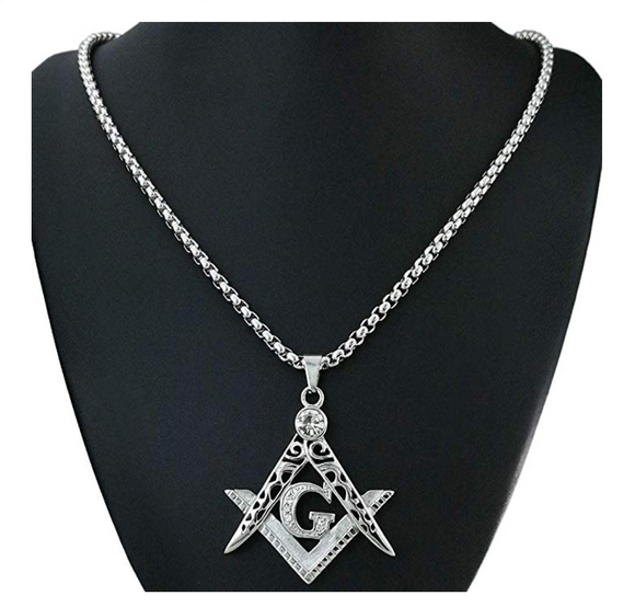 Silver Tone Masonic Chain Freemason Necklace Diamond Past Master Gift Square Compass G Regalia