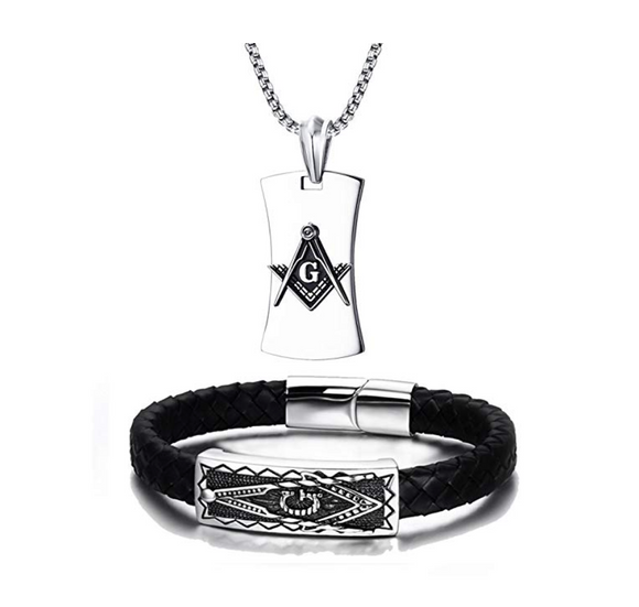 Silver Color Freemason Necklace Dog Tag Masonic Chain Jewelry Square & Compass Braided Bracelet 24in.