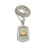 Gold Silver Color Masonic Dog Tag Necklace Simulated Diamond Freemason Chain Square & Compass G Pendant 24in.