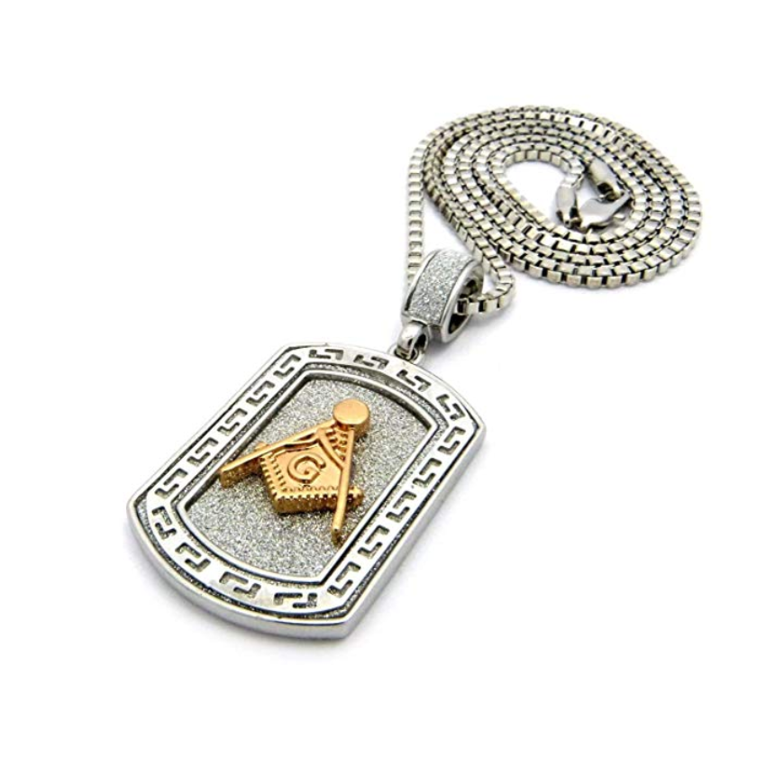 Gold Masonic Dog Tag Necklace Diamond Freemason Chain Silver Square & Compass G Pendant 24in.