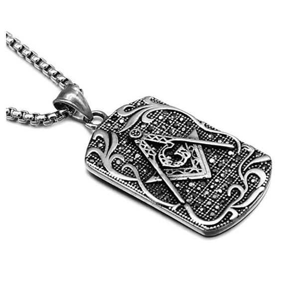 Silver & Gold Color Freemason Dog Tag Necklace Masonic Chain  Square & Compass Pendant G Jewelry 24in.