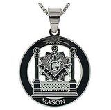 Silver Gold Color Masonic Necklace Pillars Freemason Chain Pendant Circle Mason Necklace Jewelry 24in.