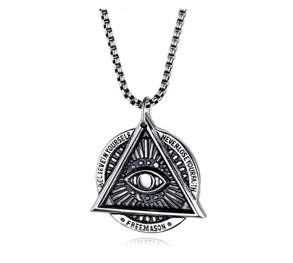 Freemason Necklace Pyramid Eye Necklace Illuminati Talisman Masonic Chain Jewelry