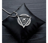 Silver Freemason Necklace Pyramid Eye Necklace Illuminati Talisman Masonic Chain Jewelry