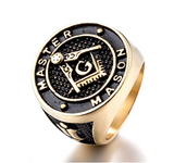 Gold Black Freemason Ring Master Mason Ring Masonic Ring Compass & Square G Regalia Jewelry