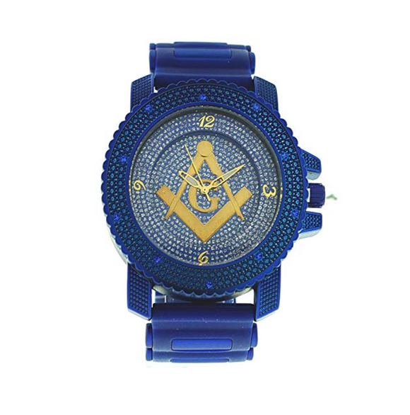 Blue & Gold Masonic Watch Freemason Simulated Diamond Watch Gift Compass & Square Regalia Jewelry