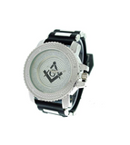 Black Silver Freemason Watch Simulated Diamond Sports Watch Masonic Gift Prince Hall Regalia Compass & Square