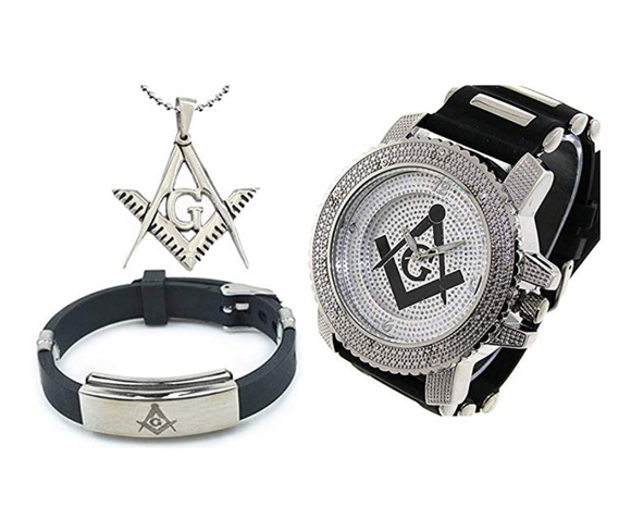 Silver & Black Freemason Watch Simulated Diamonds Gift Masonic Necklace Compass & Square Bracelet Bundle Set