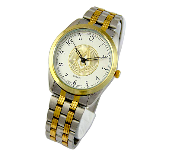 2 Tone Gold & Silver Color Masonic Watch Freemason Gift Compass & Square Jewelry Regalia