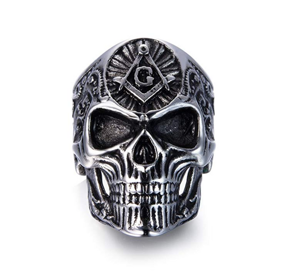 Silver Gold Color Freemason Skull Ring Masonic Skull Head Ring Square & Compass Mason Jewelry Gift