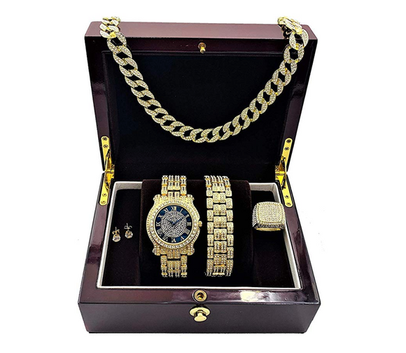 Black Face Gold Color Watch Simulated Diamond Cuban Link Chain Hip Hop Ring Bundle Bracelet Earrings Gift Set