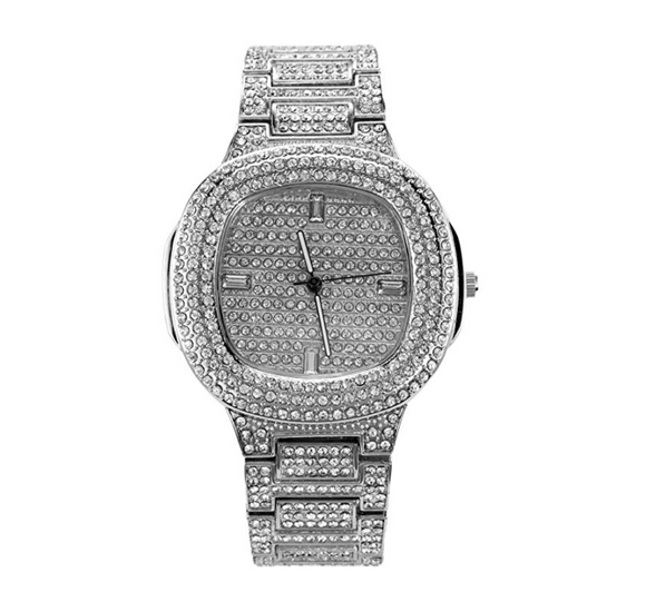 Silver Color Watch AP Bust Down Watch Simulated Diamond Iced Out Hip Hop Jewelry Luxury Watch