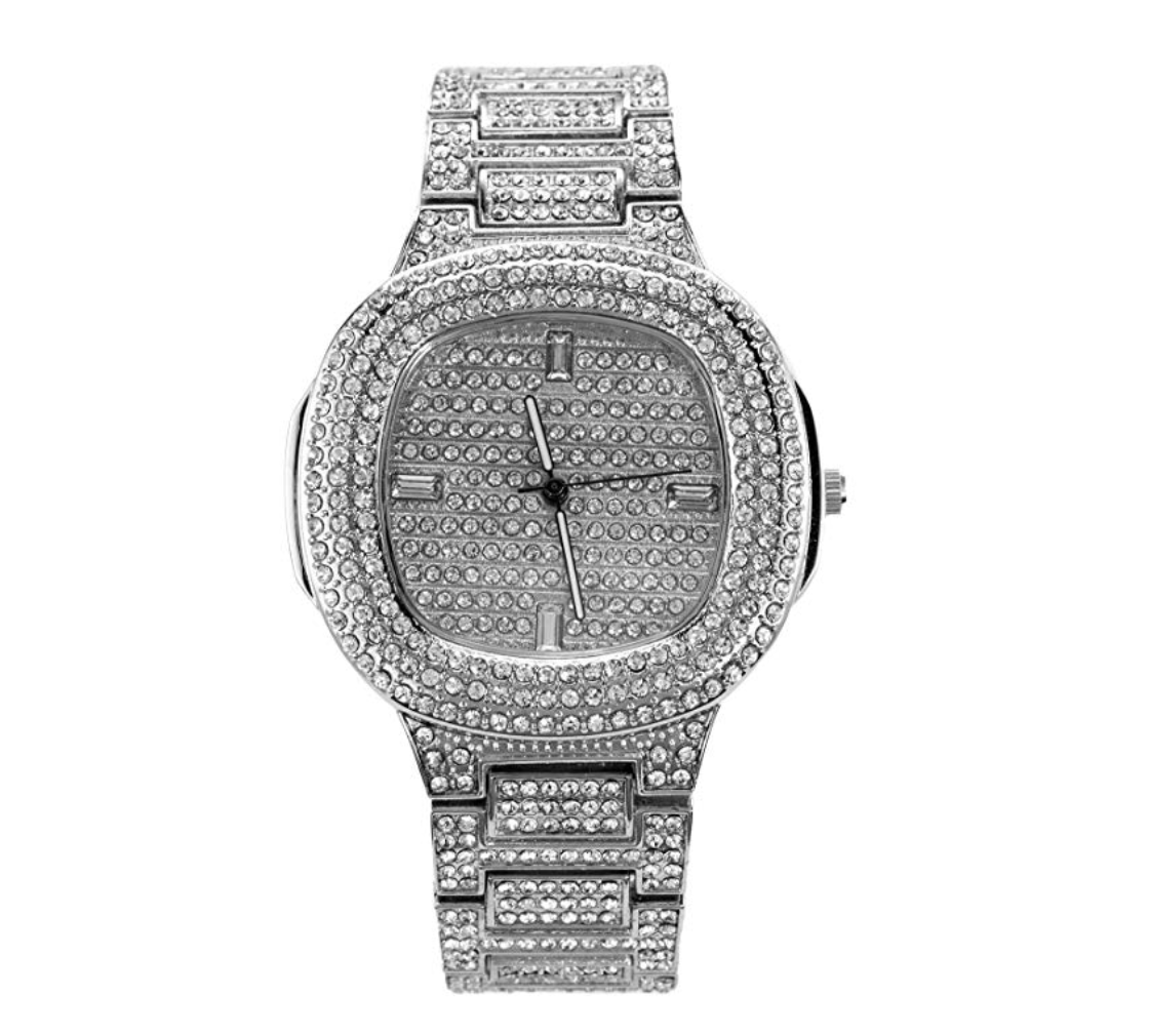 Silver AP Bust Down Watch Diamond Iced Out Hip Hop Jewelry Luxury Watch
