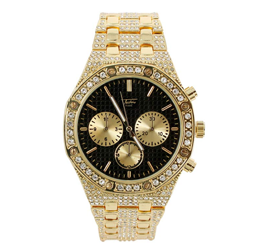 OCTAGONAL CHRONOGRAPH GOLD DIAMOND WATCH BLACK FACE AP BUST DOWN WATCH HIP HOP JEWELRY