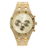 OCTAGONAL CHRONOGRAPH GOLD COLOR SIMULATED DIAMOND WATCH BLACK FACE BUST DOWN WATCH HIP HOP JEWELRY
