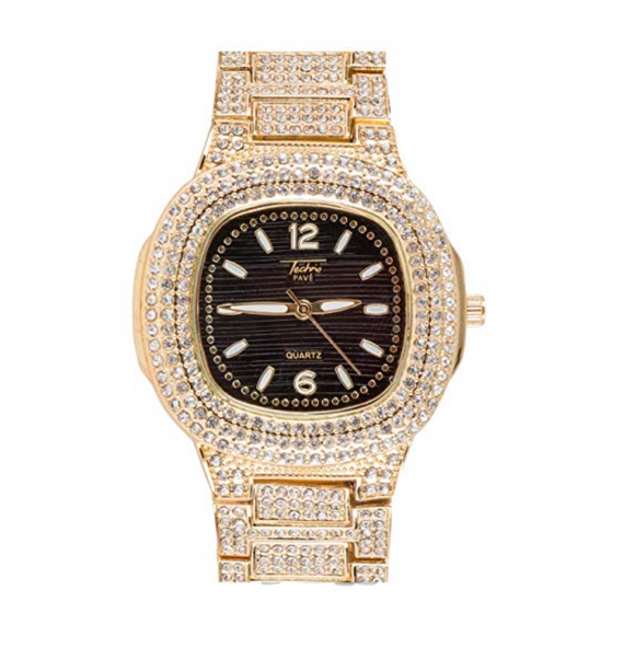 Gold Color Watch Simulated Diamond Black Face AP Bust Down Hip Hop Jewelry Iced Out Bling Silver Watch