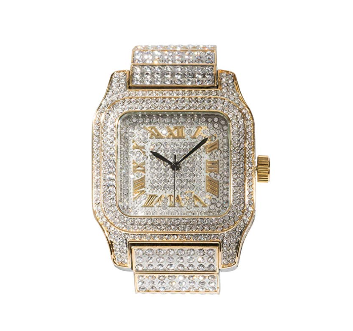 2 Tone Silver & Gold Watch Diamonds Cartier Face Bust Down Watch Hip Hop Bling Jewelry
