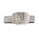 2-Tone Silver Gold Color Watch Simulated Diamonds Cartier Santos Design Bust Down Large Watch Hip Hop Big Face Bling Jewelry 45mm