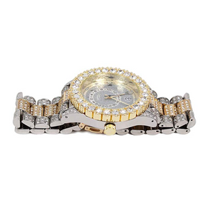 2 Tone Gold & Silver Diamond Watch Arabic Dial Bust Down Hip Hop Bling Jewelry Iced Out Watch
