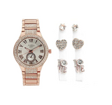 Women's Rose Gold Tone Simulated Diamond Watch Heart Earring Studs Silver Color  Gift Jewelry