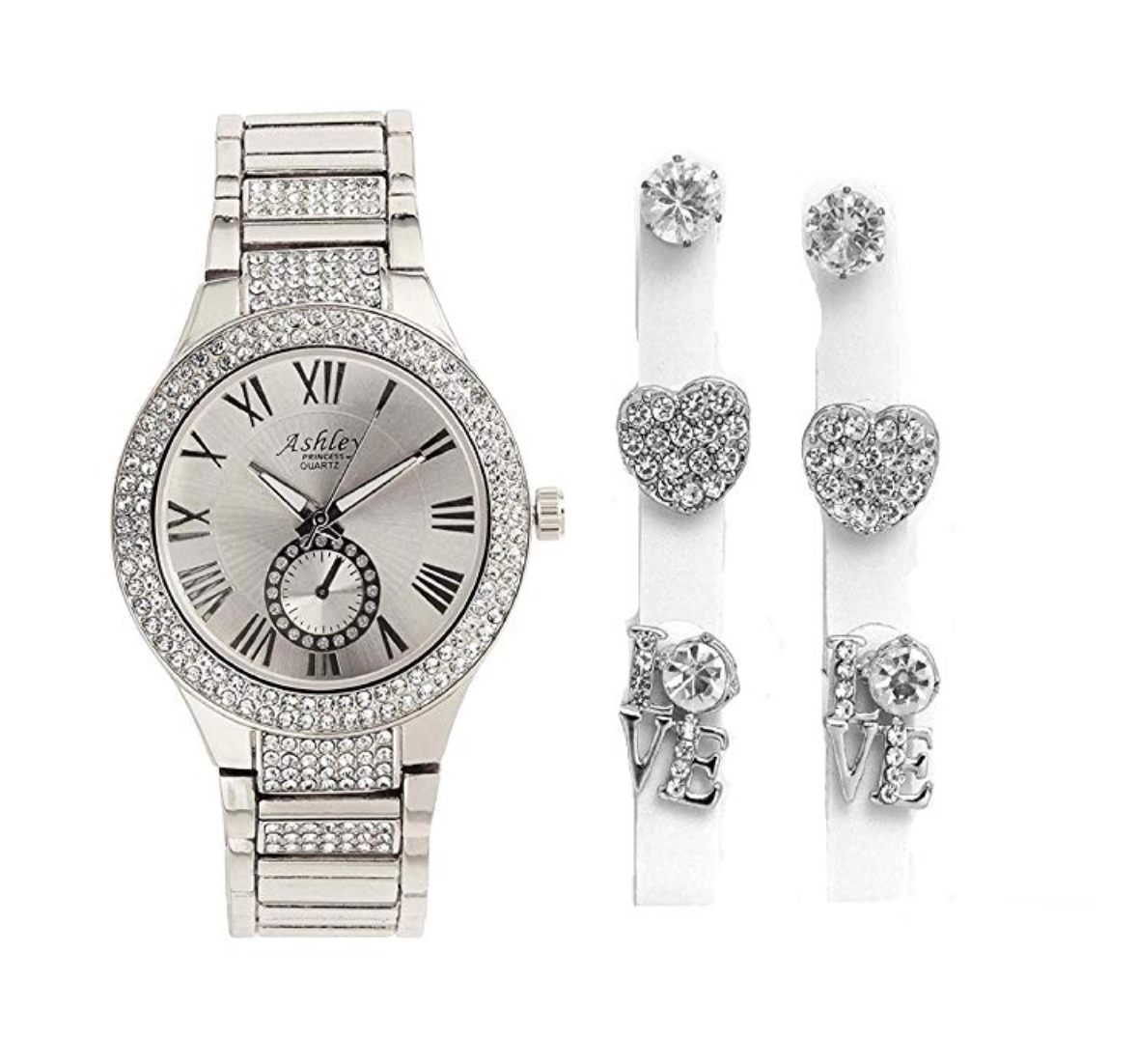 Women's Rose Gold Diamond Watch Heart Earrings Diamond Studs Silver Watch Gift Jewelry
