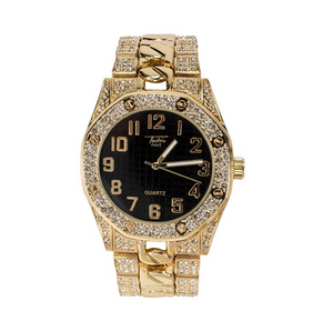 Gold Watch Cuban Link Octagonal Watch Black Face Hip Hop Diamonds Bust Down. Silver Cuban Swarovski Crysta