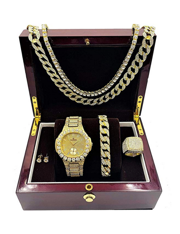 Gold Color Watch Cuban Link Simulated Diamond Bracelet Watch Set Tennis Chain Earrings Hip Hop Ring Bundle