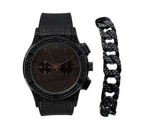 Black Diamond Chronograph Watch Set Cuban Link Bracelet Hip Hop Jewelry Bling Bundle