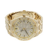 45mm Gold Color Simulated Diamond Octagonal Watch AP Bust Down Hip Hop Silver Watch Iced Out Luxury Bling