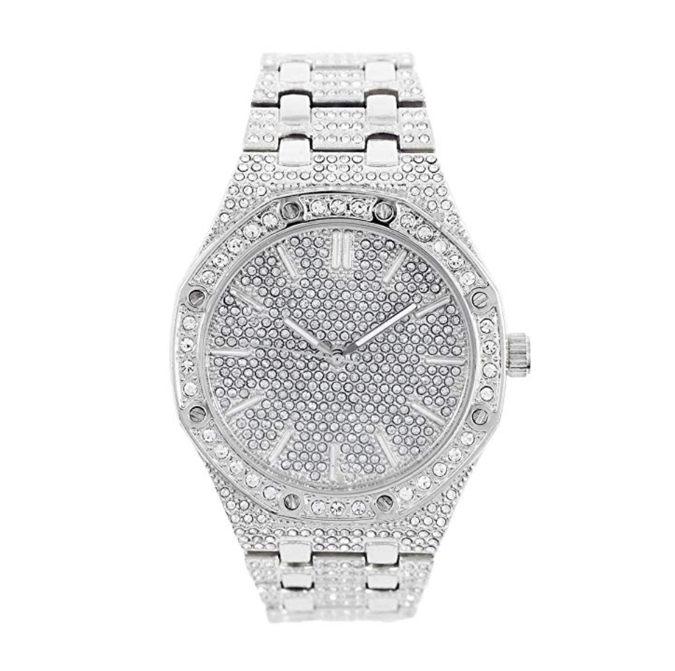 Silver Diamond Octagonal Watch AP Bust Down Hip Hop Gold Watch Iced Out Luxury Bling 45mm