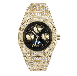 Black Face Gold Diamond Watch Chronograph Bust Down AP Watch Iced Out Hip Hop Bling Silver