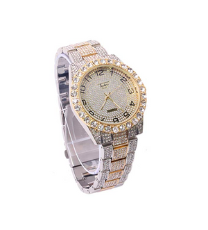 2 Tone Gold & Silver Diamond Watch Bust Down Hip Hop Watch Bling Jewelry