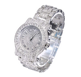 Silver Color Watch Hip Hop Watch Simulated Diamonds Bust Down Watch Rapper Iced Out Watch Bling Jewelry