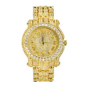 Silver Hip Hop Watch Diamonds Bust Down Watch Rapper Iced Out Watch Gold Bling Jewelry
