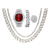 Red Face Simulated Diamond Watch Silver Color Watch Cuban Link Necklace Bracelet Set Tennis Chain Watch Earring Bundle