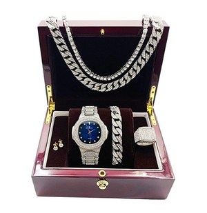 Blue Face Diamond Watch Silver Cuban Link Necklace Bracelet Set Tennis Chain Watch Earring Bundle