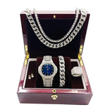 Blue Face Watch Simulated Diamond Silver Color Cuban Link Necklace Bracelet Set Tennis Chain Watch Earring Bundle
