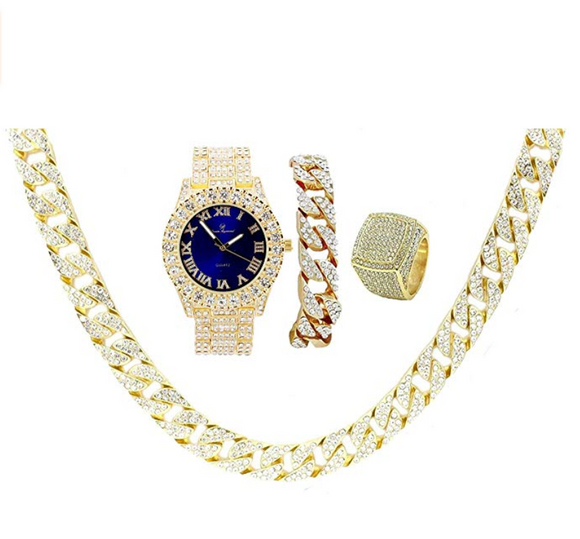 Blue Face Watch Gold Color Simulated Diamond Cuban Link Necklace Bracelet Set Tennis Chain Watch Earring Bundle