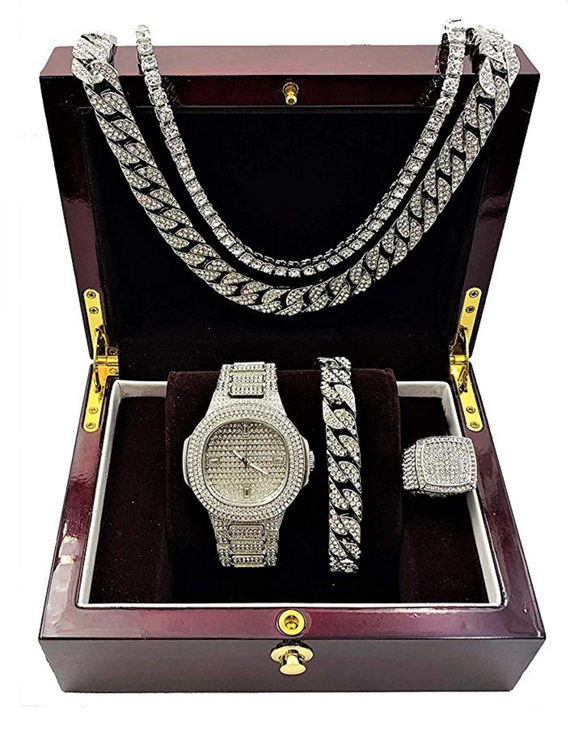 Silver Color Watch Simulated Diamond Watch Cuban Link Necklace Bracelet Set Tennis Chain Hip Hop Watch Earring Bundle