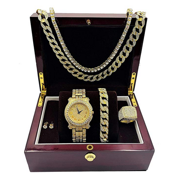 Gold Color Watch Simulated Diamond Bundle Cuban Bracelet Tennis Necklace Bust Down Ring Set