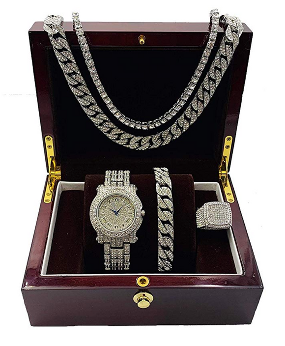 Silver Color Watch Simulated Diamond Watch Bundle Cuban Bracelet Tennis Necklace Diamonds Bust Down Ring Set