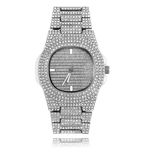 Silver Color Watch Simulated Diamond Watch Luxury Hip Hop Bling Bust Down Watch Iced Out Bling Watch