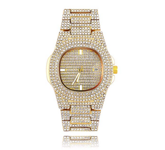 Gold Color Watch Simulated Diamond Watch Luxury Hip Hop Bling Bust Down Watch Iced Out Bling Watch